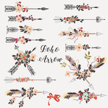 Set Of Boho Arrows With Hand Drawn Flowers