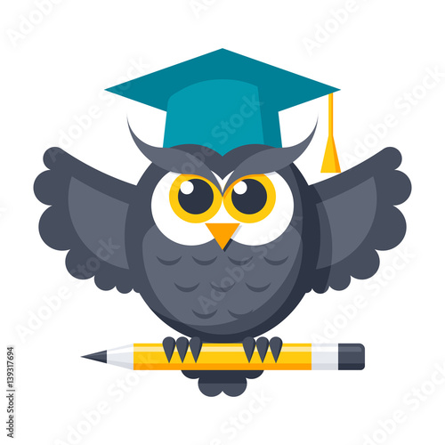 Poster Uilen cartoon Wisdom concept with owl in graduation cap