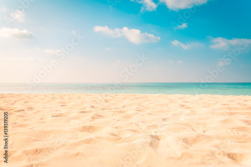 Sea view from tropical beach with sunny sky. Summer paradise beach website design. Tropical shore. Tropical sea in Maldives. Exotic summer beach sky clouds on horizon. Ocean beach relax outdoor travel
