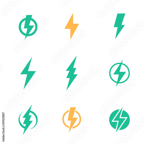 Obraz Lightning bolt signs on white - fototapety do salonu