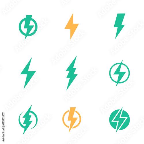 Photo Lightning bolt signs on white