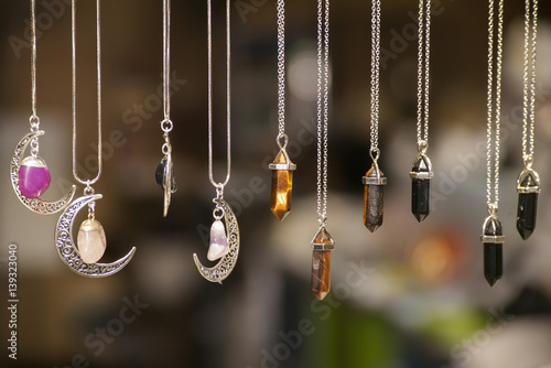 Necklaces with colored stones Canvas Print
