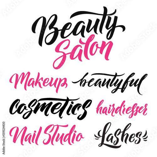 Fotografie, Obraz  Logo Beauty Salon Lettering. Custom handmade calligraphy, vector