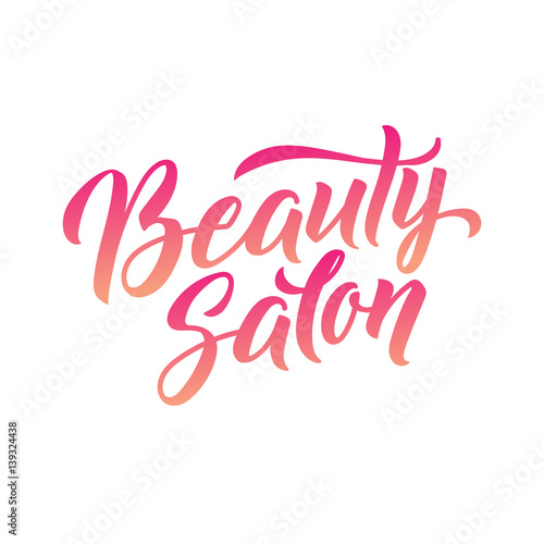 Photo  Logo Beauty Salon Lettering. Custom handmade calligraphy, vector