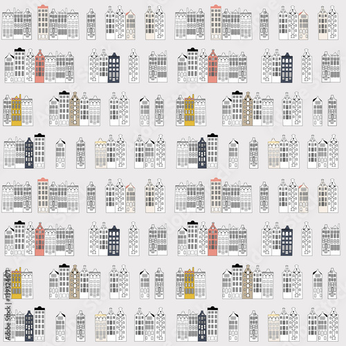 Spoed Foto op Canvas Wit Vector seamless pattern with rows of typical dutch canal houses in Amsterdam, the Netherlands. Stylized facades of old buildings in retro pastel colors. Isolated on beige background.
