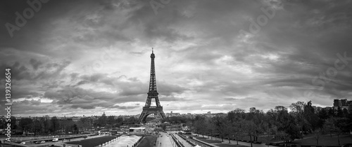Poster Tour Eiffel Beautiful panoramic cityscape. Dramatic cloudscape. View of the Eiffel Tower from the Trocadero. B&W photography. France. Paris.