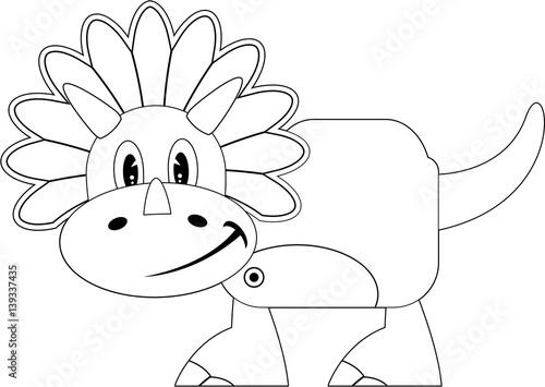Tuinposter Cute Cartoon Colour in Triceratops Dinosaur
