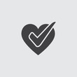 Heart with check icon in a flat design in black color. Vector illustration eps10
