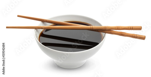 Soy sauce on white