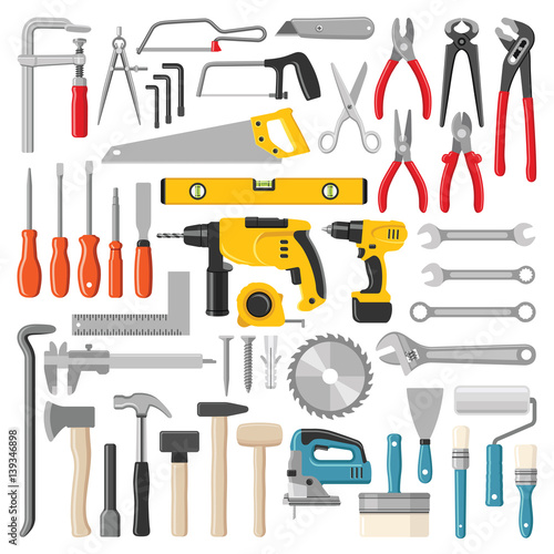 Obraz Construction tool collection - vector color illustration - fototapety do salonu