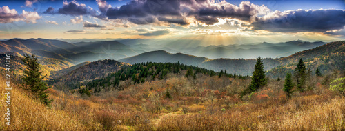 Photo sur Toile Beige Scenic sunset over Smoky Mountains from the Blue Ridge Parkway in North Carolina