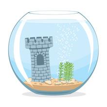 Fishbowl Aquarium With Castle