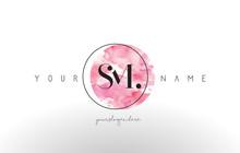 SM Letter Logo Design With Watercolor Circular Brush Stroke.