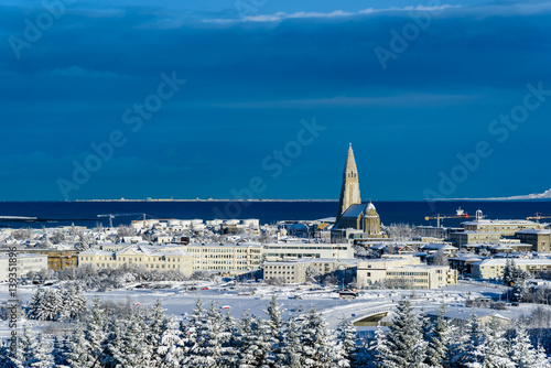 Tuinposter Dubai View over Reykjavik in winter - breathtaking Iceland in winter - amazing landscapes, storms and blizzards - photographers paradise
