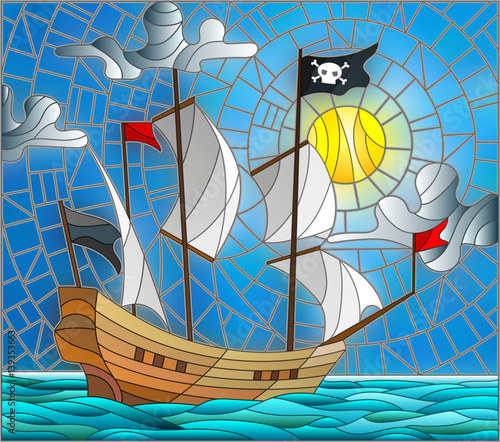 ilustracja-w-stylu-witrazu-z-pirackim-statkiem-w-sloncu-pochmurnym-niebie-i-oceanie