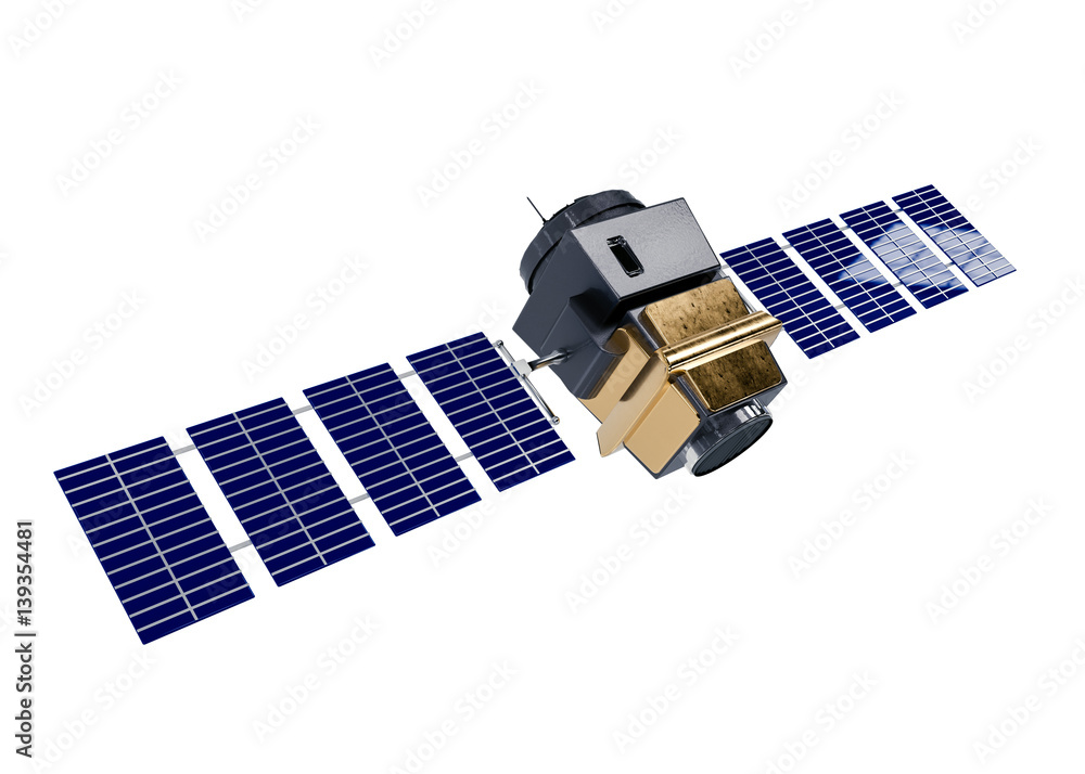 Photo  artificial satellite concept 3D rendering isolated on white