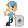 HVAC Technician leaning on washing machine