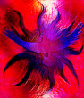Dove on abstract background in light flame. Painting and graphic design. Glass effect.