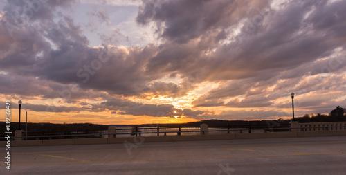 Photo  Sunset behind Scenic Bridge