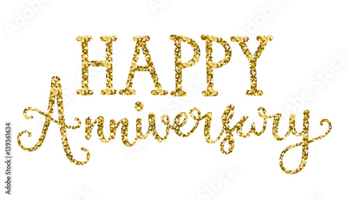 Happy Anniversary Hand Lettering Gold Glitter Icon Buy