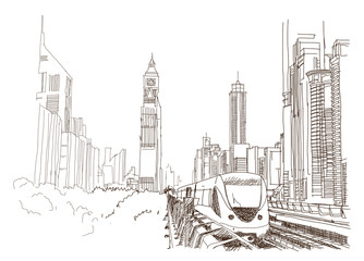 Sketch of Dubai metro with building in vector illustration.