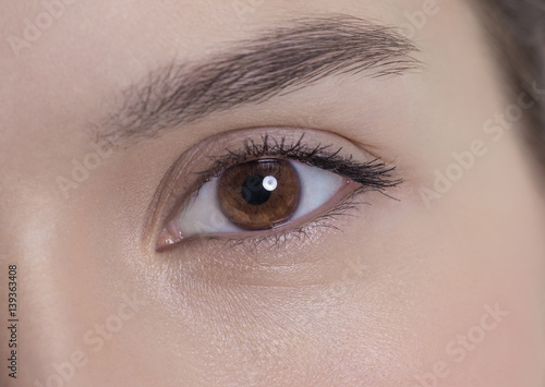 Brown eye of an attractive young woman Canvas-taulu