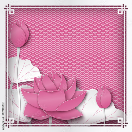 Abstract Fl Pink Background With Lotus Flowers Oriental Pattern And E For Le Text Vector Ilration Paper Cut Out Art Style Layers Are