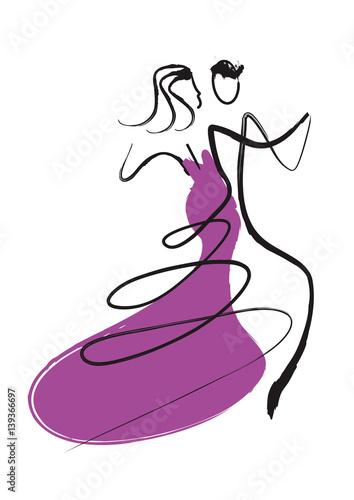 Tableau sur Toile Ballroom Dancers Couple
