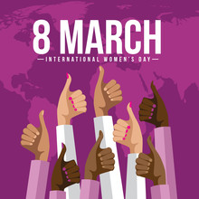 International Womens Day Multicultural Thumbs Up Design.