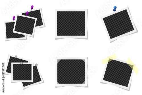 Fototapeta Collage of realistic photo frames isolated on white. Vector illustration obraz na płótnie