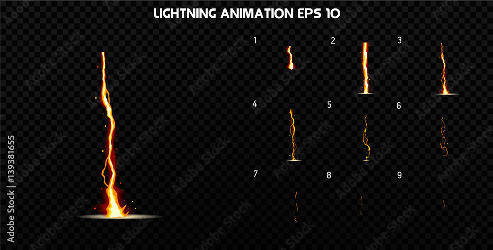 Fototapety, obrazy: Vector explode. Explode effect animation with smoke. Cartoon explosion frames. Sprite sheet of explosion