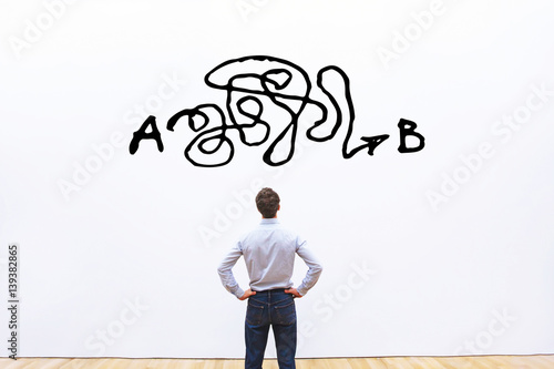 problem solving, complicated solution from point A to point B, business idea or Wallpaper Mural