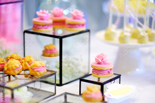 Beautiful Desserts Sweets And Candy Table At Wedding Reception