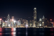 Hong Kong skyline view from kowloon side,colorful night life,cityscape