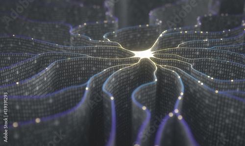 Obraz na płótnie Artificial neuron in concept of artificial intelligence