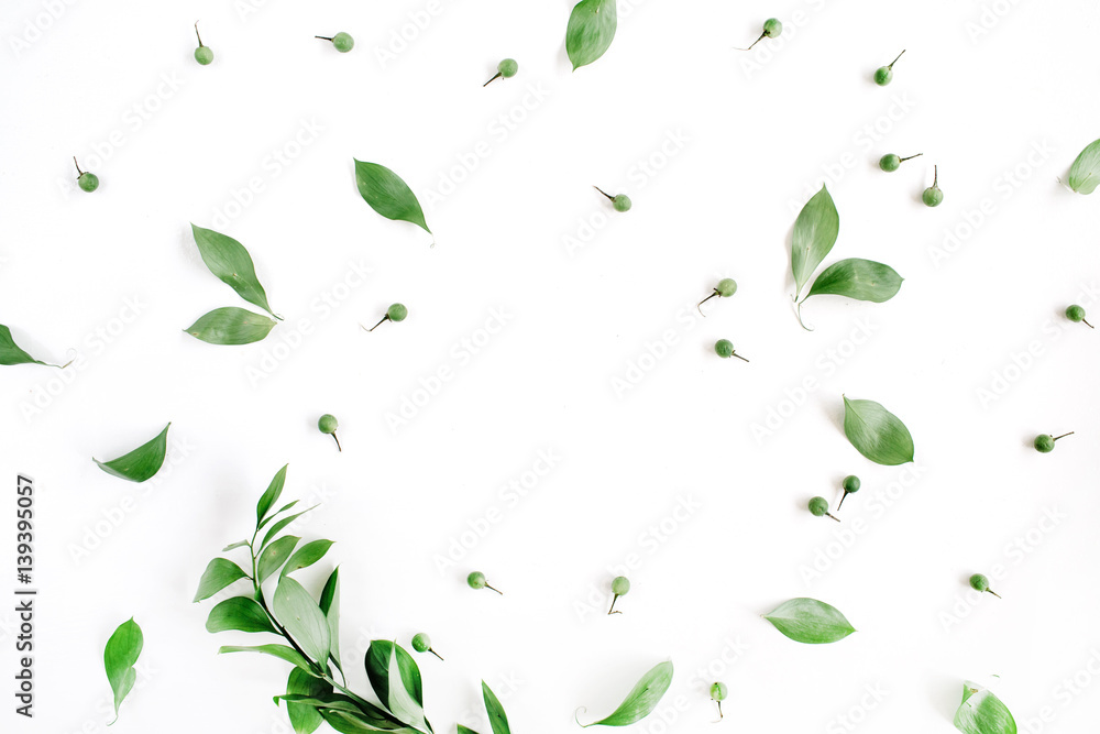 Fototapety, obrazy: Frame wreath of green leaves on white background, Flat lay, top view. Flower background.