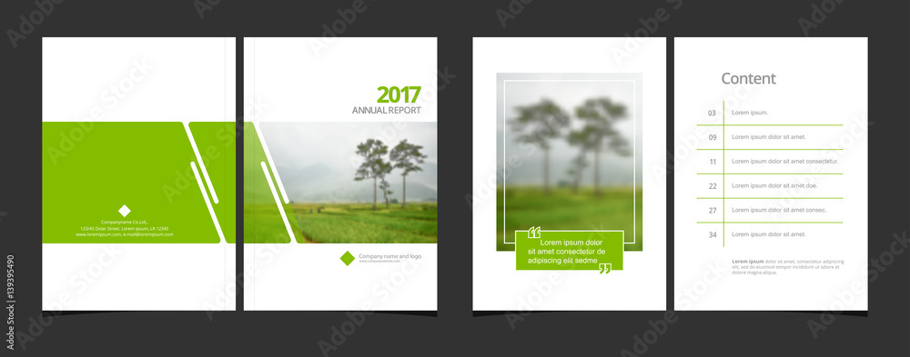 Fototapeta Cover design and content page template for corporate business annual report or catalog, magazine, flyer, booklet, brochure. A4 cover vector greenery concept EPS-10 sample image with Gradient Mesh.