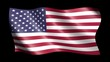 Flag of the United States of America isolated on alpha channel, seamless looping