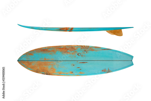 Photo  Vintage surfboard isolated on white - Retro styles 60's
