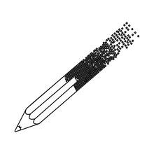 Black Contour Pencil With End Part Pixelated Vector Illustration