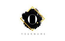 O Letter Logo Design With Black Stroke And Golden Frame.