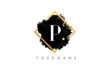 P Letter Logo Design With Black Stroke And Golden Frame.