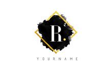 R Letter Logo Design With Black Stroke And Golden Frame.