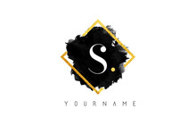 S Letter Logo Design With Blac...