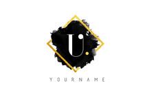 U Letter Logo Design With Blac...