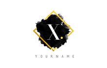 X Letter Logo Design With Black Stroke And Golden Frame.
