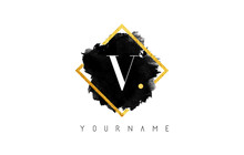 V Letter Logo Design With Black Stroke And Golden Frame.