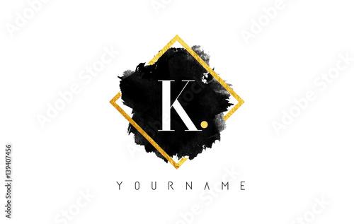 Fotografia, Obraz  K Letter Logo Design with Black Stroke and Golden Frame.