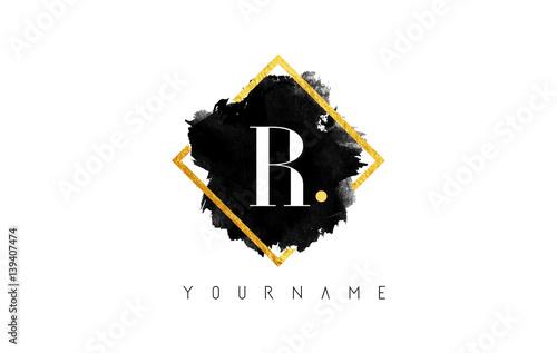 Photo  R Letter Logo Design with Black Stroke and Golden Frame.