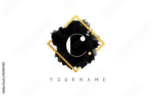 C Letter Logo Design with Black Stroke and Golden Frame.